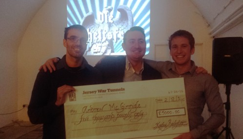 James, John and Andrew  with a very heavy Cheque